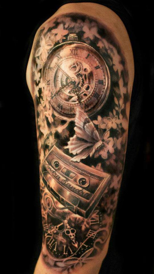 Gears Clock And Flower Tattoos On Half Sleeve
