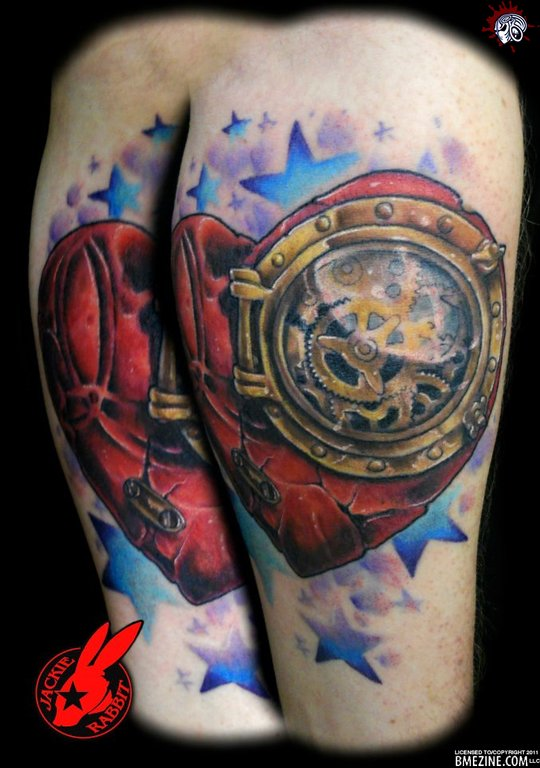 Gears Clock Heart And Star Tattoos On Thigh