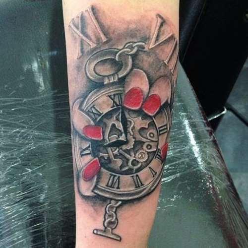 Gears Clock In Girl Hand Tattoo