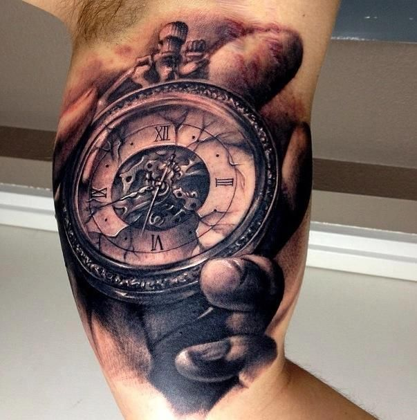 Gears Clock In Hand Portrait Tattoo On Muscles