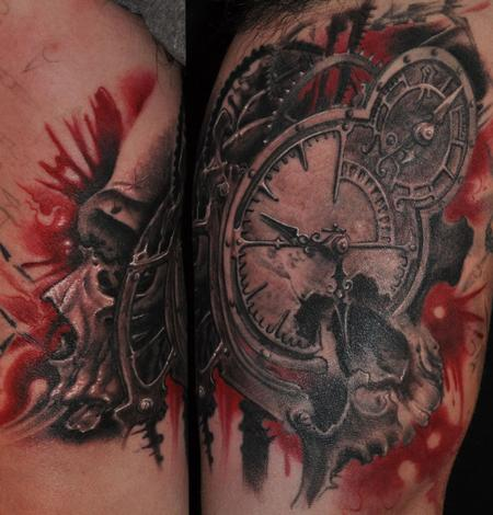 Gears Clock Skull Tattoos