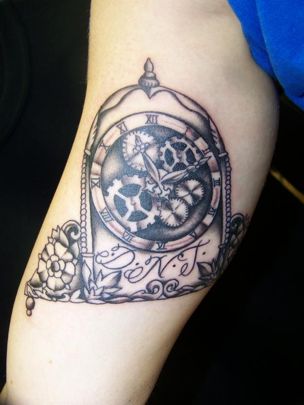 Gears Clock Tattoo On Inner Biceps