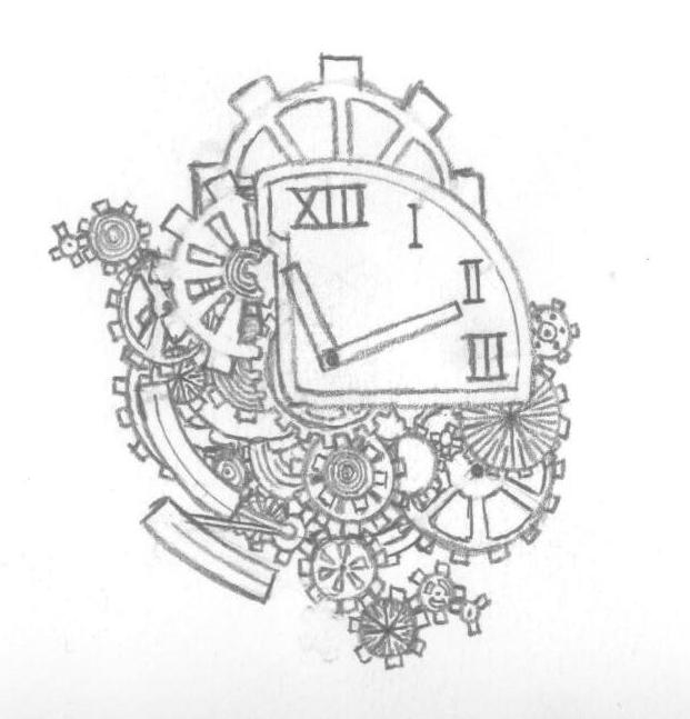 Gears Clock Tattoos Sketch