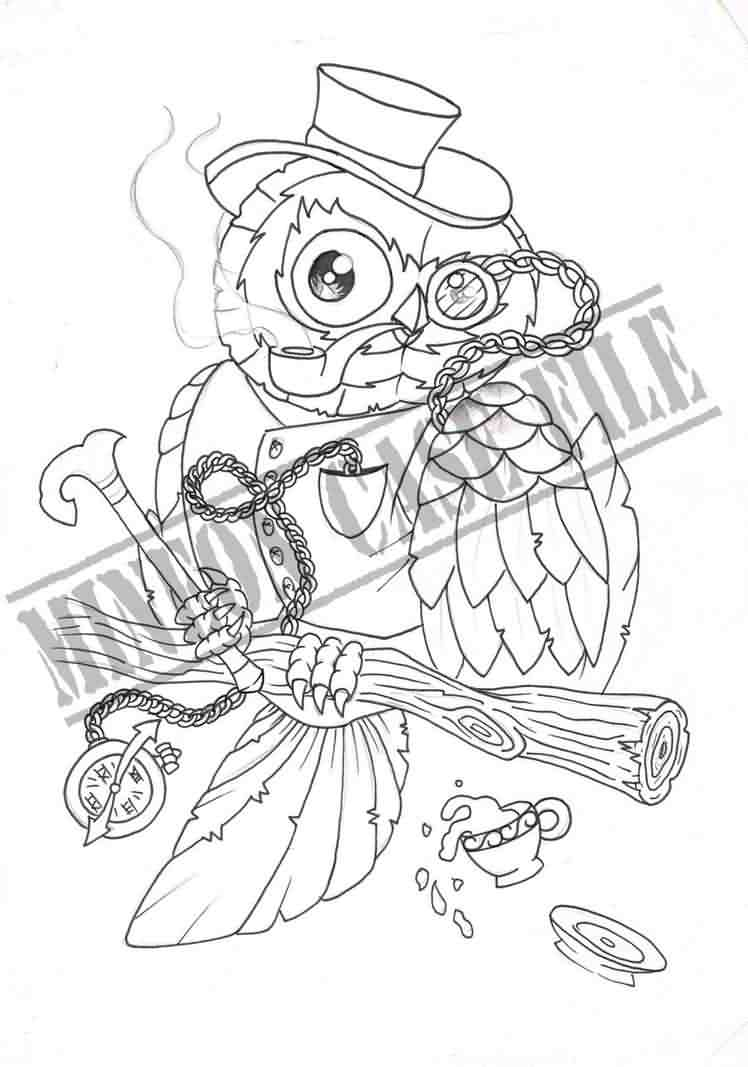 Gentelman Owl Tattoo Design