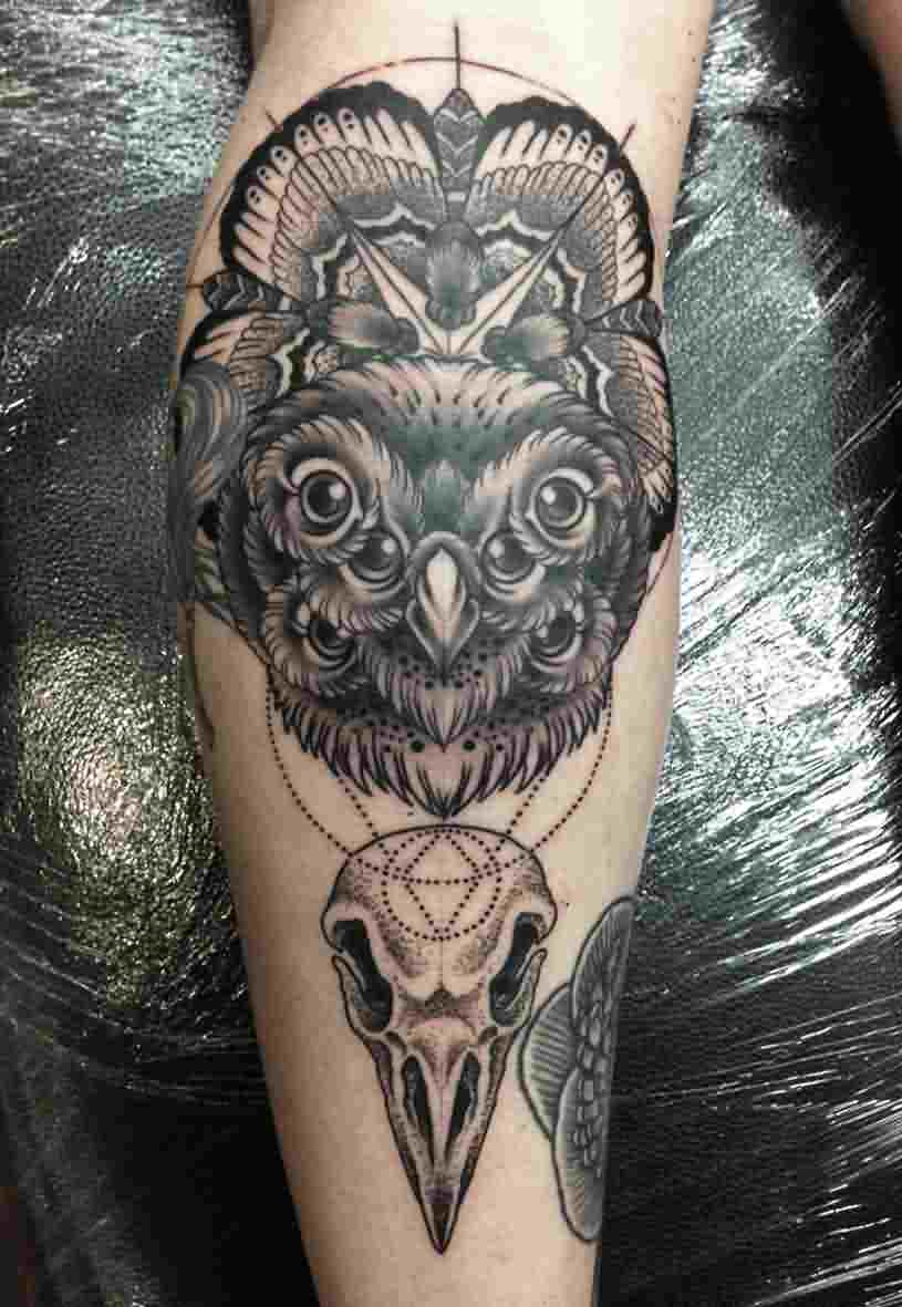 Geometric Owl Eyes Dotwork Bird Skulls Tattoo