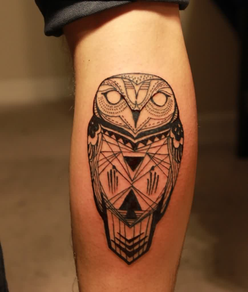 Geometric Open Wings Owl Tattoo On Chest