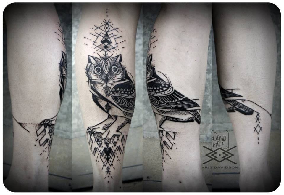 Geometric Owl Tattoos On Leg