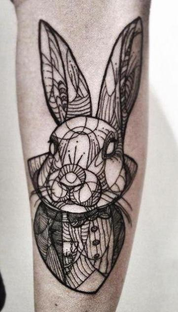 Geometric Rabbit Tattoo On Arm For Men