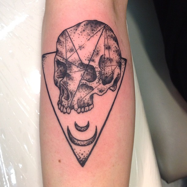 Geometric Skull And The Triangle Tattoos