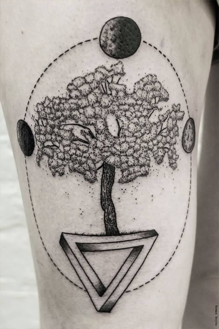 Geometric Tree Triangle Tattoos