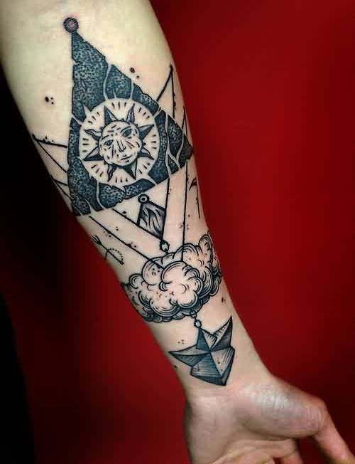 Geometric Triangle And Clouds Tattoos On Arm
