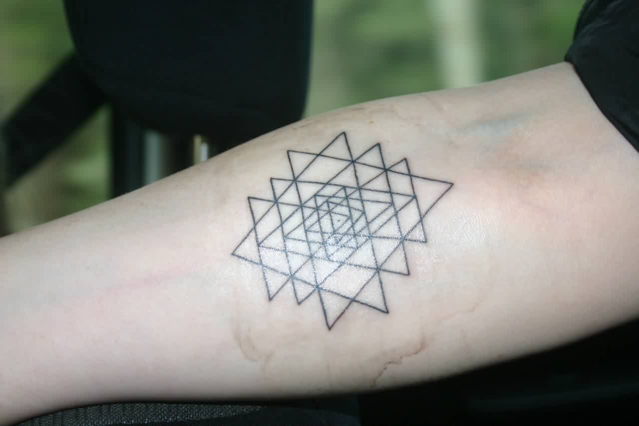 Geometric Triangle Tattoo On Forearm