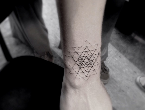 Geometric Triangle Tattoos On Wrist