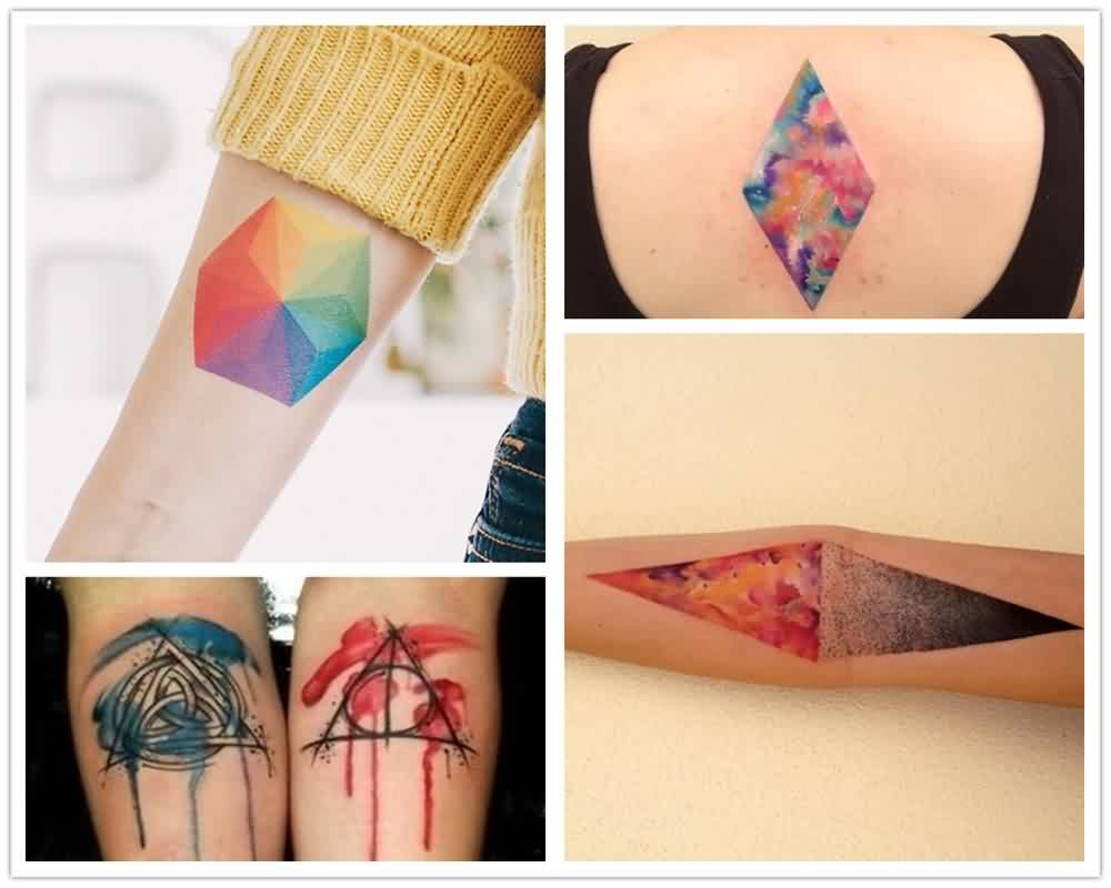 Geometric Watercolor Triangle Tattoos