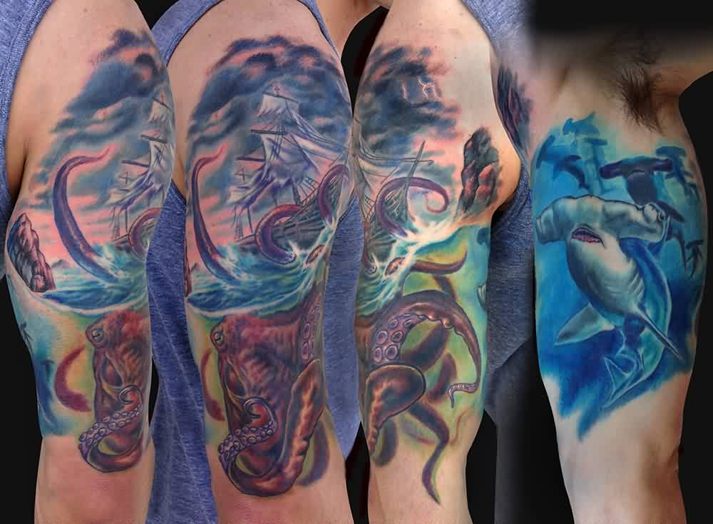 Giant Octopus And Shark Half Sleeve Tattoos
