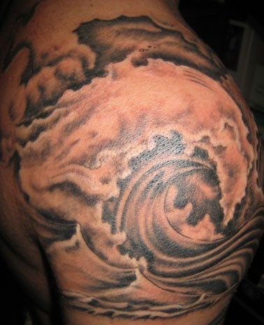 Giant Wave Tattoo On Shoulder