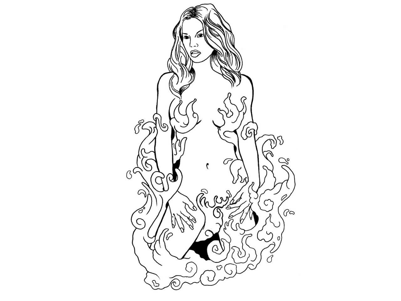 Girl In The Water Waves Tattoo Design