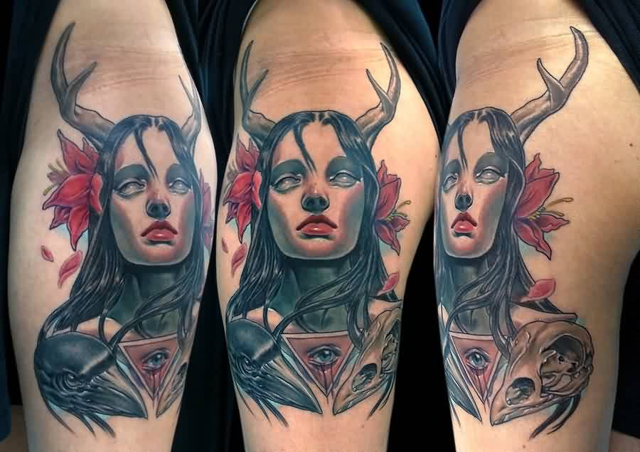 Girl With Crows Tattoos On Arm