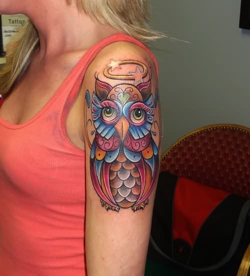 Girly Colorful Owl Tattoo On Sleeve Of Girl