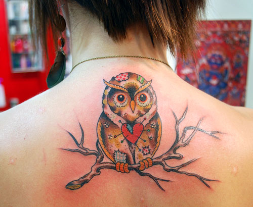 Girly Owl On Branch Tattoo