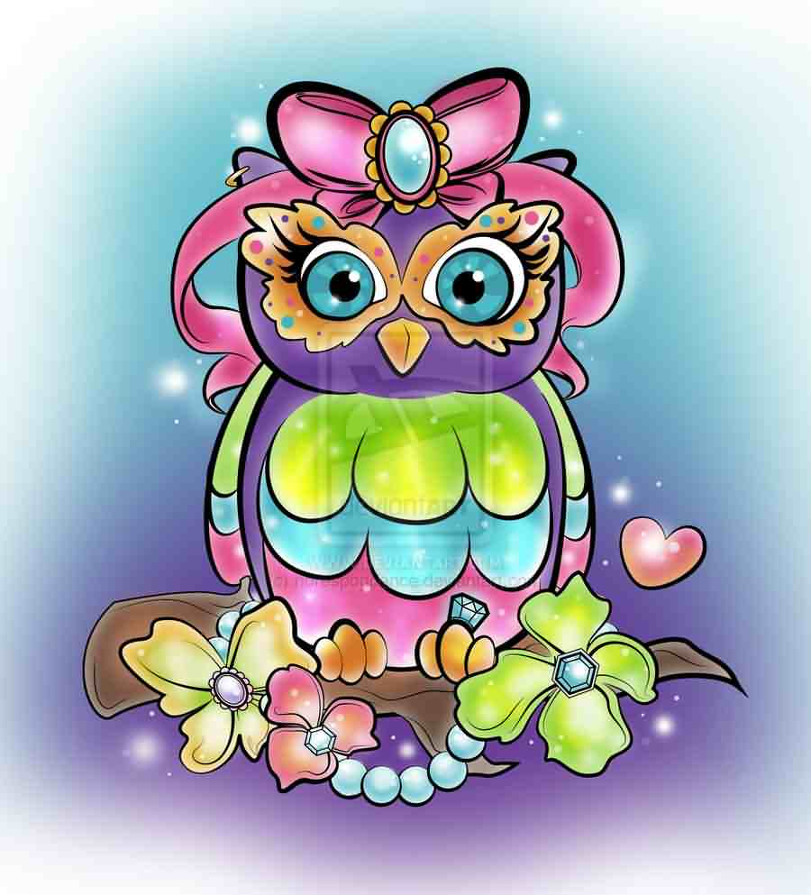 Glam Owl Tattoo Design
