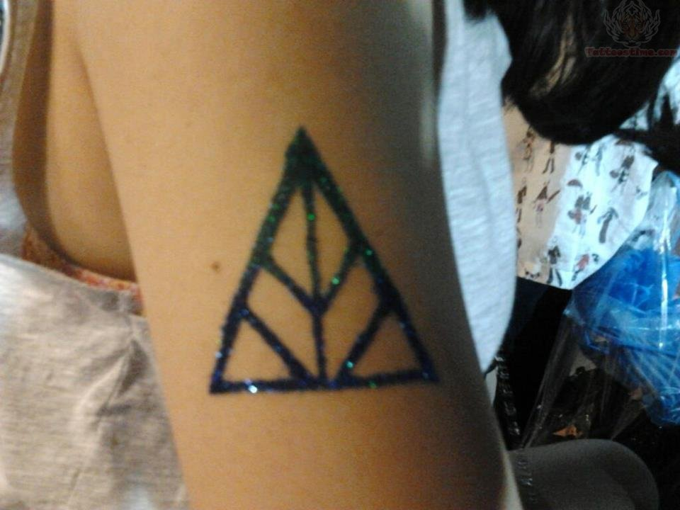Glitter Triangle Tattoo On The Right Biceps