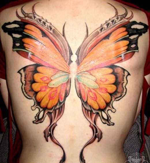 Glorious 3D Butterfly Wings Tattoo On The Backbody