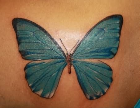 Glorious Blue 3D Butterfly Tattoo
