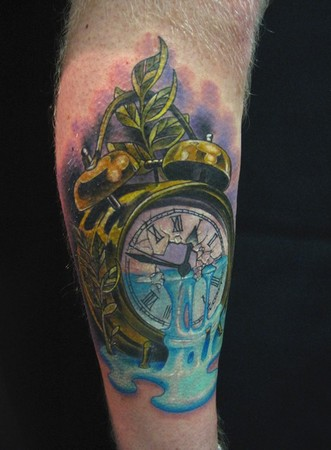 Golden Bell Clock Tattoo On Leg