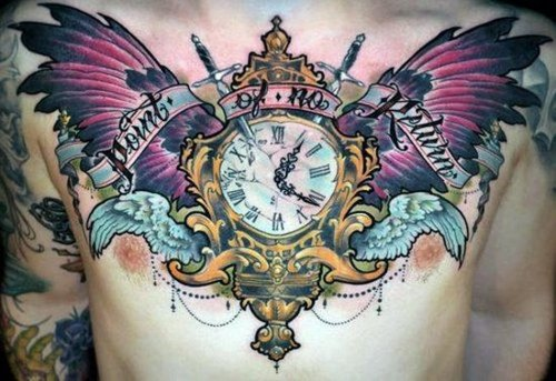Golden Clock With Wings Tattoo On Chest