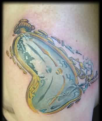 Golden Dali Clock Tattoo