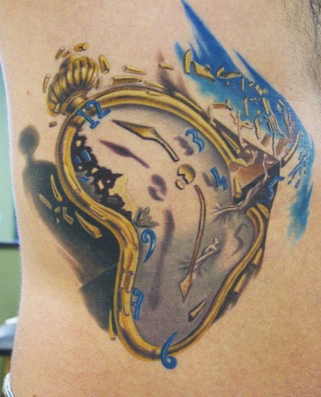Golden Dali Clock Tattoo On Side For Men