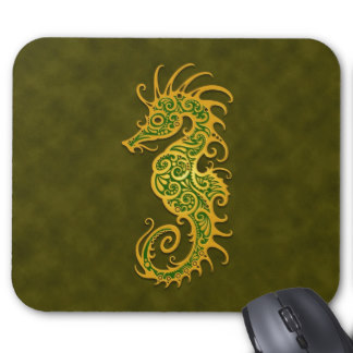 Golden Green Tribal Seahorse Tattoo Mousepad