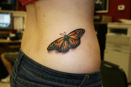 Gorgeous 3D Butterfly Tattoo On Right Waist