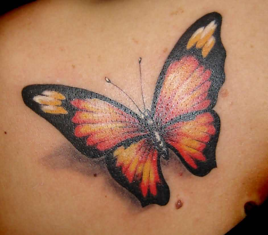 Gorgeous 3D Butterfly Tattoo