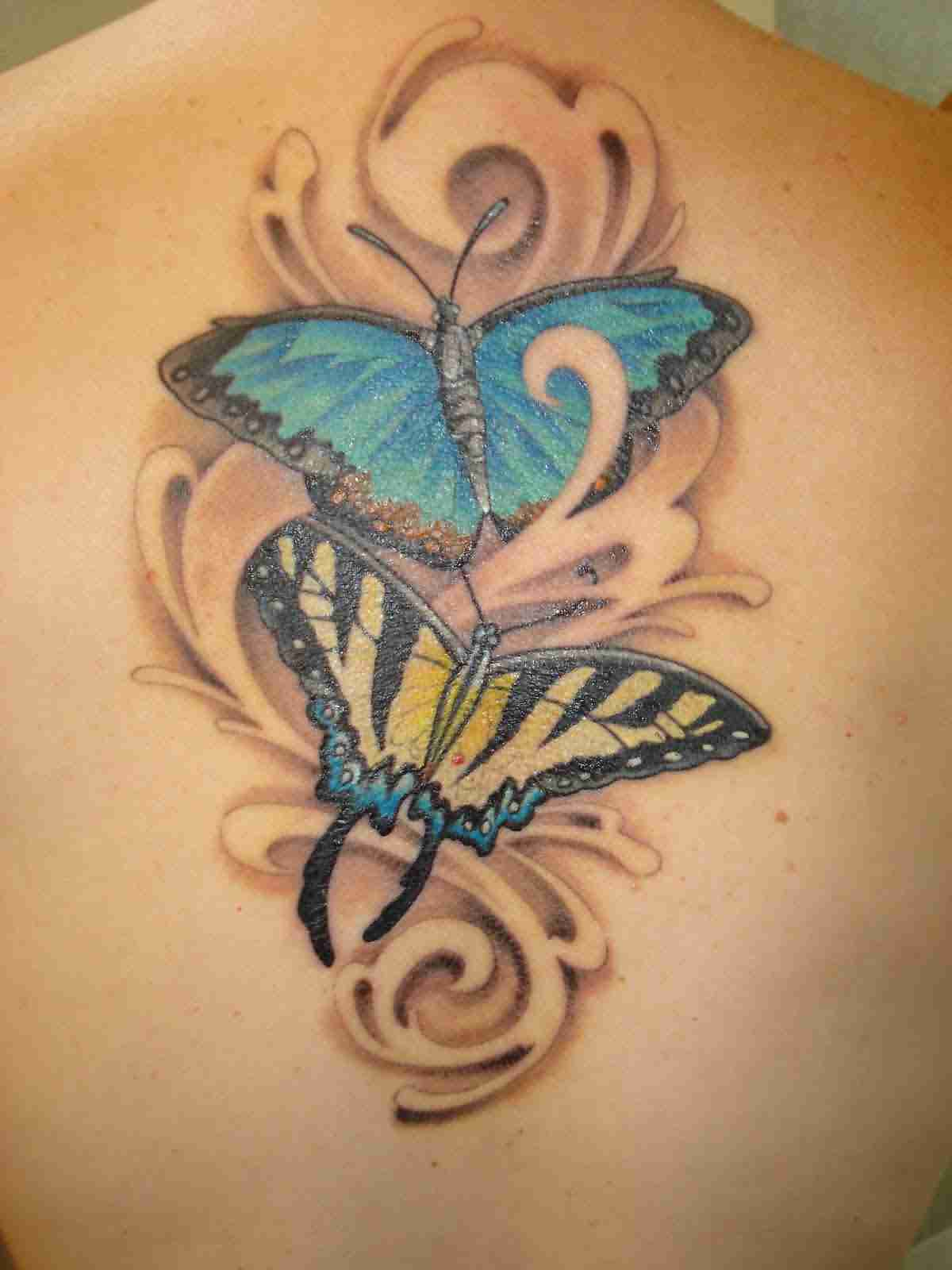 Gorgeous 3D Butterfly Tattoos On Spine