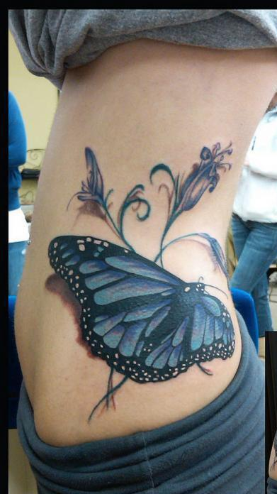 Gorgeous 3D Flower And Butterfly Tattoos On Waist