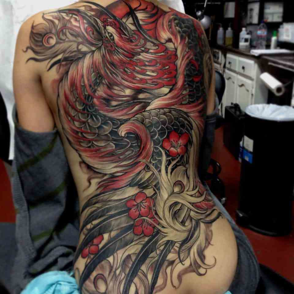 Gorgeous 3D Phoenix Tattoo On Whole Back