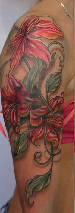 Gorgeous 3D Pink Flower Vine Tattoos