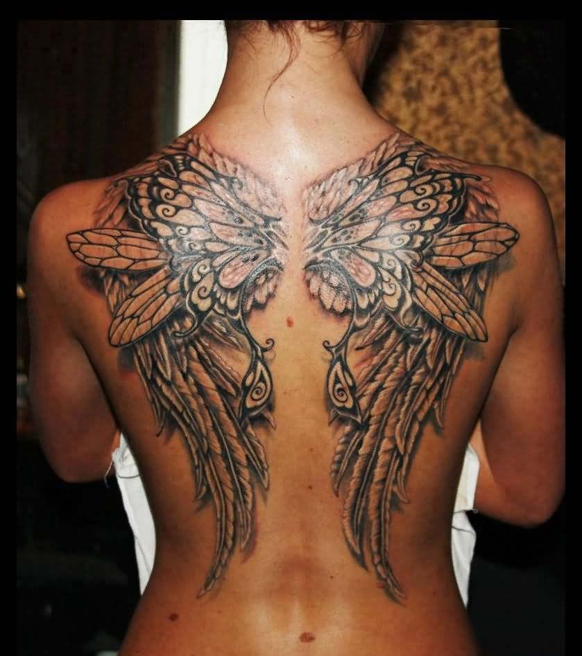 Gorgeous 3D Wings Pair Tattoo On Topless Back
