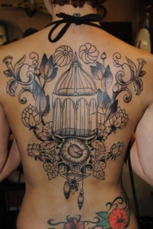 Gorgeous Cage And Clock Tattoos On Backbody