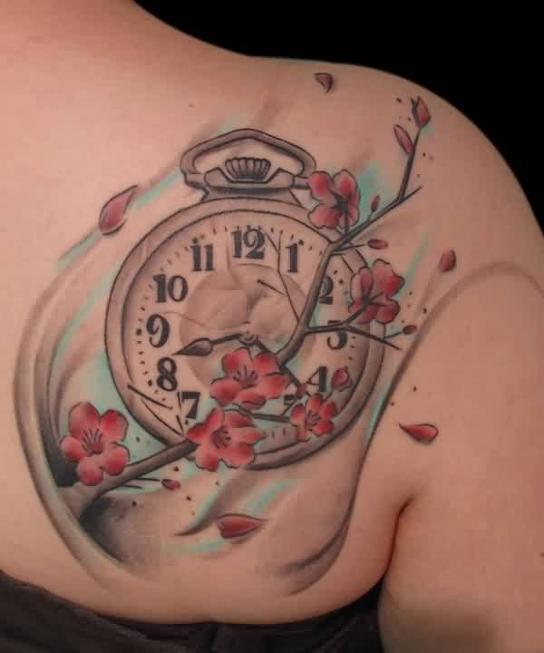 Gorgeous Clock And Blossoms Branch Tattoos For Women