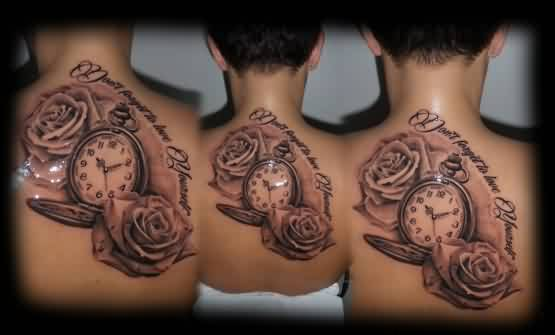 Gorgeous Clock And Rose Tattoos On Upperback