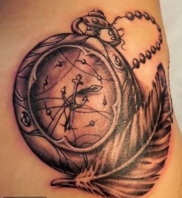 Gorgeous Clock With Feather Tattoos On Back Hip