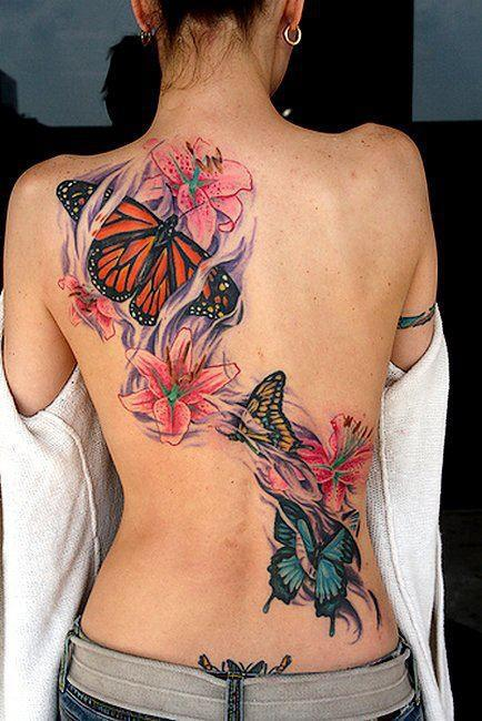 Gorgeous Color 3D Tattoos On Topless Back