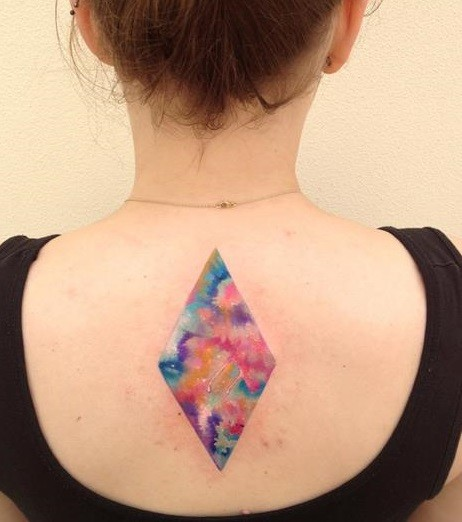 Gorgeous Colorful Triangle Tattoo On Upperback
