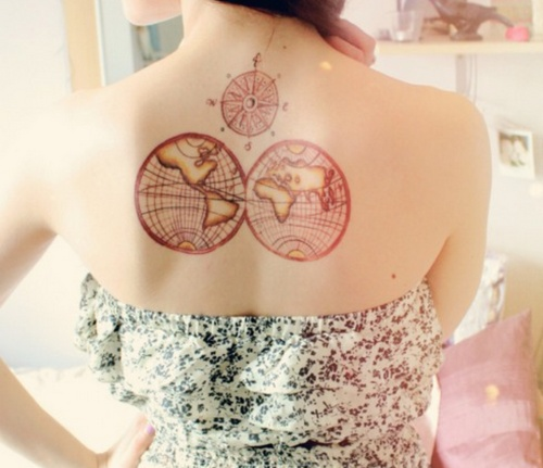 Gorgeous Compass And Map Tattoos On Upperback