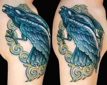 Gorgeous Crow Frame Tattoo On Shoulder