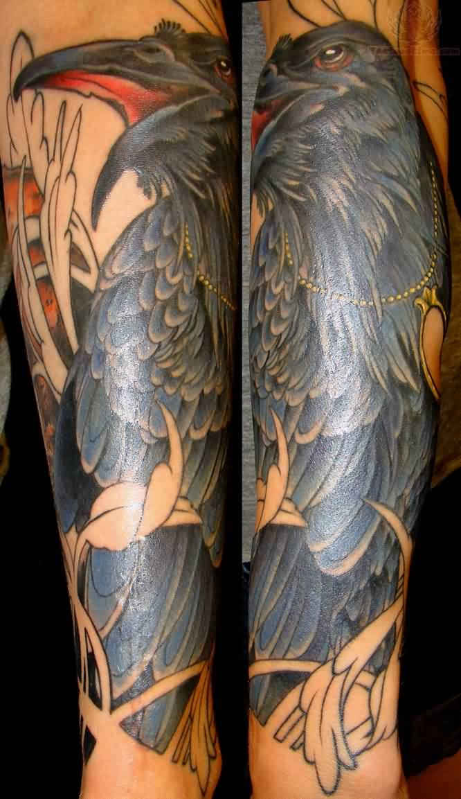 Gorgeous Crow Tattoo On Sleeve