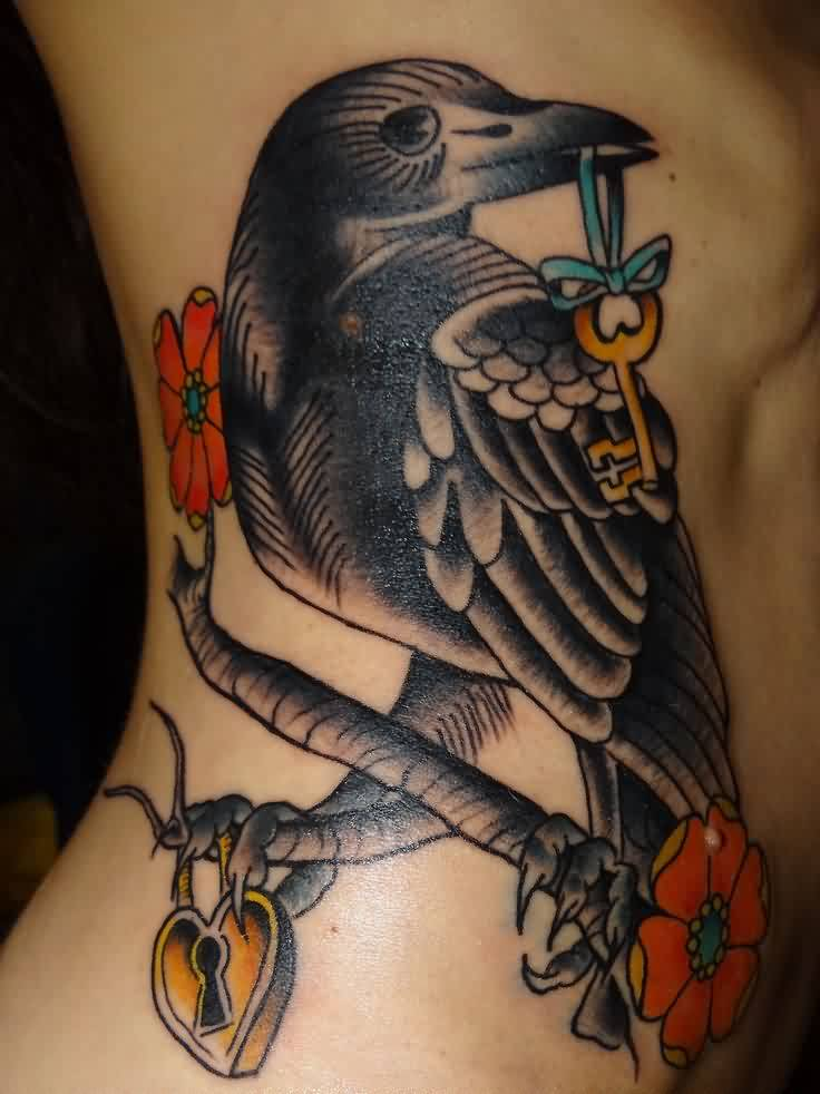 Gorgeous Crow With Key Tattoo On Rib Side